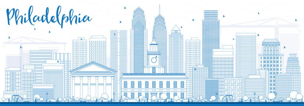 Outline Philadelphia Skyline with Blue Buildings.