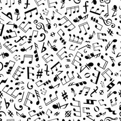 Seamless music notes and marks background pattern