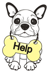 bone, treat, Tablets, signs, posters, plate, inscription, words, letters, asking, ad, help, sit, dog, french, bulldog, breed, background, white, isolated, cartoon,