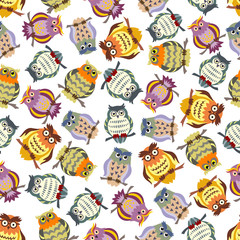 Cartoon colorful owls seamless pattern background
