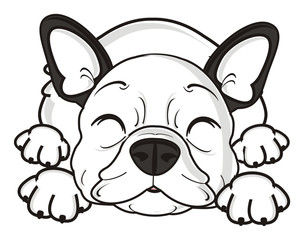 sleep, lie, dream, closed, eyes, Rest, relaxation, dog, french, bulldog, breed, background, white, isolated, cartoon,