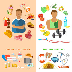 Healthy lifestyle and unhealthy lifestyle banner fat man