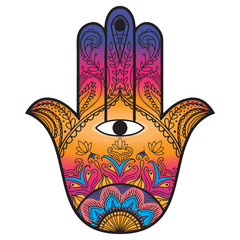 Hamsa henna tattoo with ethnic ornament. Colorful indian pattern.