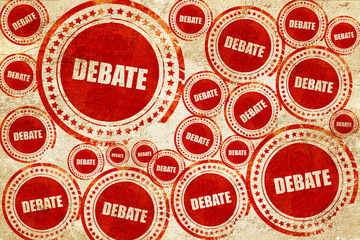 debate, red stamp on a grunge paper texture