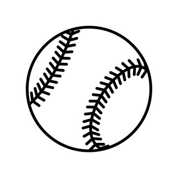 Baseball ball sign. Black softball icon isolated on white background. Equipment for professional american sport. Symbol of play, team, game and competition, recreation. Flat design Vector illustration