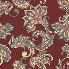 indian style floral seamless pattern