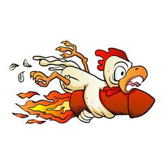 chicken on the rocket.