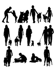 People with Dog, art vector design