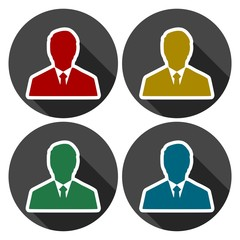 Management avatar user profile icons set with long shadow