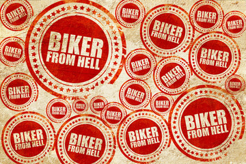 biker from hell, red stamp on a grunge paper texture