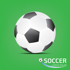 soccer ball on green background with shadow, football, soccer, v