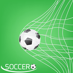 soccer ball or football in the goal net. football on green backg