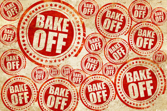 bake off, red stamp on a grunge paper texture