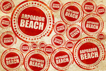arpoador beach, red stamp on a grunge paper texture