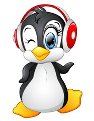 Cartoon penguin with earphone