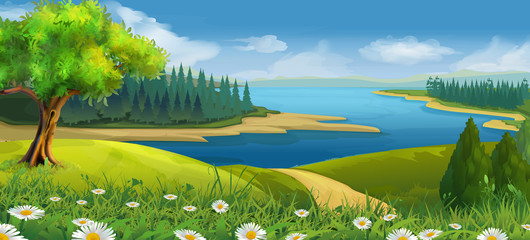 Ingelijste posters Blauwe jeans Nature landscape, stream valley, vector background
