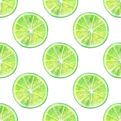 Seamless pattern with lemon lime.Fruit picture.Watercolor hand drawn illustration.White background