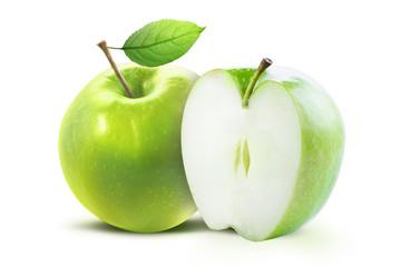 Green apple and half of green apple isolated on white background with clipping path. Two juicy ripe colored apples on a white background isolated with clipping path.