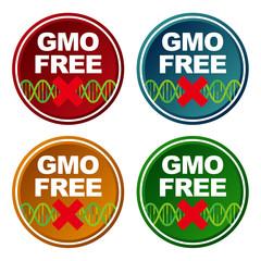 Genetically Modified Organisms(GMO) free, emblem or sticker icon