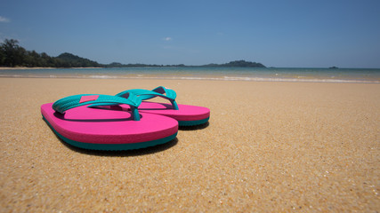 sandy beach and pink sandals
