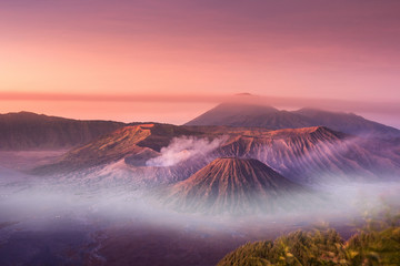 Mount Bromo twilight sky sunrise time with fog nature landscape