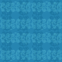 Paisley blue pattern - vector ornament in ethnic style