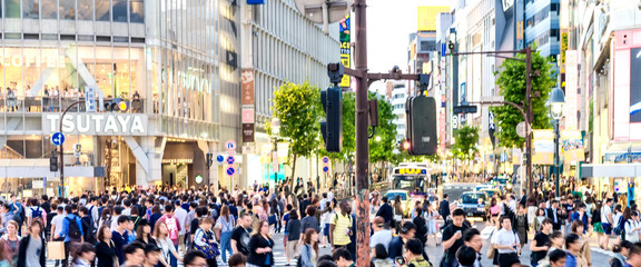 TOKYO - JUNE 1, 2016: Shibuya Crossing at dusk with tourists. Sh