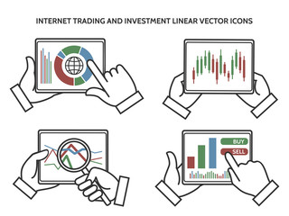 Stock exchange business hands. Internet trading and investment linear vector icons