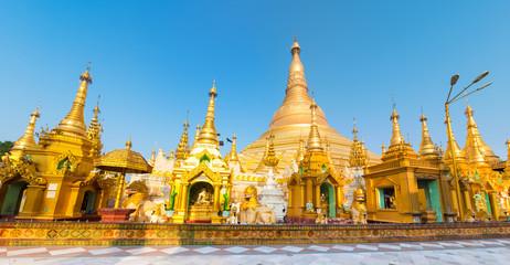 Shwedagon pagoda in Yangon. Myanmar. Panorama