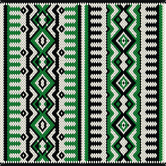 A Green White And Black Vintage Traditional Weaving Motif Rug