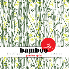 Bamboo stems vector seamless pattern, brush pen sketch style. Simple green bamboo illustration on white background. Bamboo bush. Bamboo leaves. Pattern in a panel.