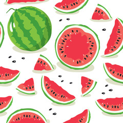 Slice of watermelon/Seamless pattern with watermelon slices