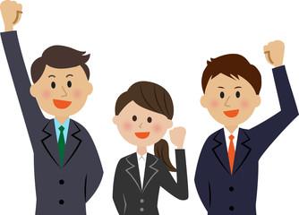 ビジネスマン チーム ガッツポーズ