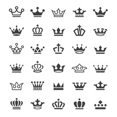 30 Vector crown icons set