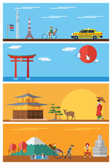 Flat design, Japan's icons and landmarks
