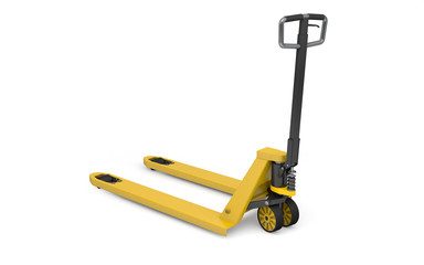 Pallet jack isolated on white. 3d rendering