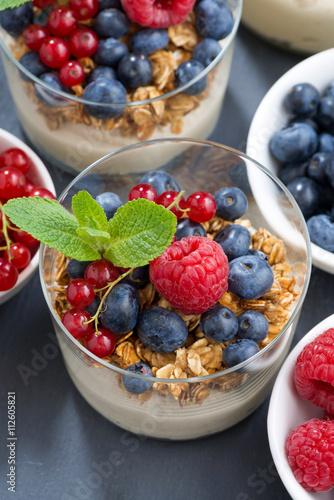 """dessert with sweet milk cream, fresh berries and muesli"""" Stock photo ..."""