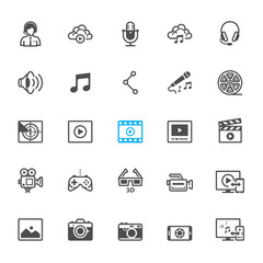 Multimedia icons with White Background