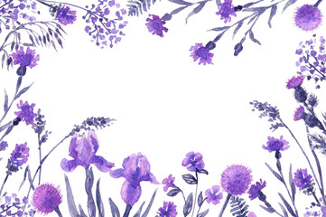 Floral Frame with lilac wildflowers.