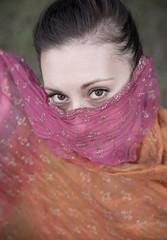 Beautiful brunette portrait wearing scarf