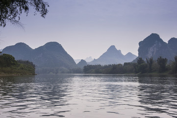 The beautiful karst mountains and river scenery in Guilin, China