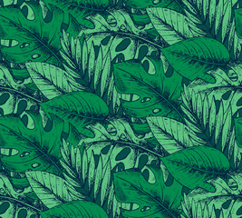 Seamless pattern with hand drawn tropical plants