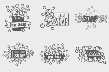 Set of soap with foam logos or labels templates. Vector illustrations with foam bubbles. can be used for design logotype or symbol