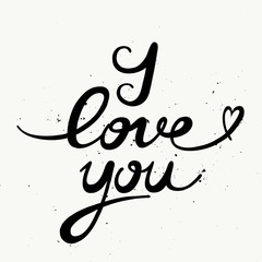 Vector typographic illustration of handwritten I love You.