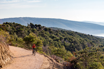 Mountain biker riding on bike in summer sunset woods