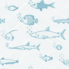 Background of underwater world. Seamless pattern with cute fish.