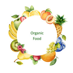 Watercolor painted organic fruit.