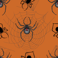 Seamless Halloween background with scary spiders