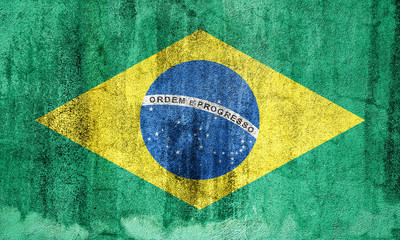 closeup of grunge brazilian flag