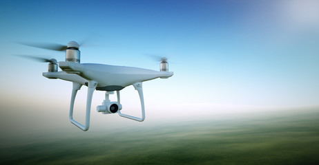 Image White Matte Generic Design Air Drone with video action camera Flying Sky under the Earth Surface. Green Fields Background. Wide, front side angle view. Film Effect. 3D rendering.